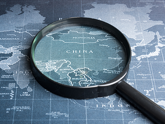 China map with magnifying glass