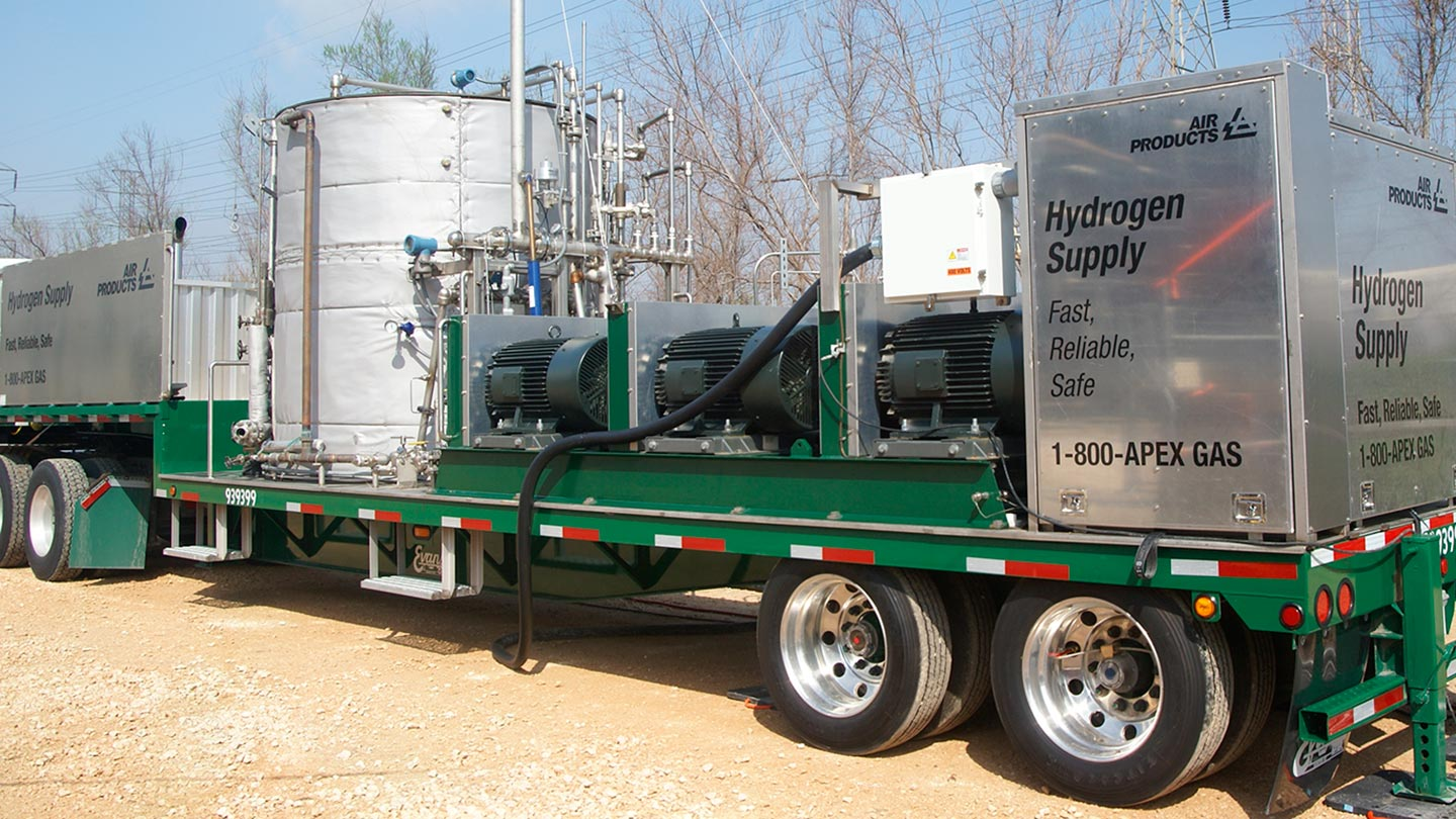 Our proprietary mobile Cryogenic Hydrogen Compressor (CHC) liquid supply system is one of our many supply options that can provide hydrogen at your site.