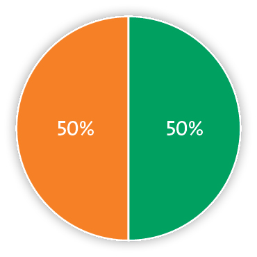 Pie chart representing 50% carbon dioxide and 50% nitrogen